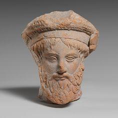 Terracotta head of a man,Greek,classical period,4th century,South Italian,Tarterine