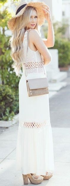 #summer #elegant #outfits | White Crochet Detail Maxi Dress