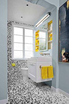 black white yellow small bathroom design idea