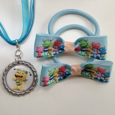 Henry Hugglemonster Boutique Bottlecap Pendant Necklace with matching Hair bow elastic ties accessory set by OliverandMay, $9.50