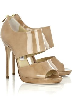 d1939cb34f01 These Jimmy Choo Beige Nude Patent Leather Private Cut Out Sandals Pumps  Size US 8 Regular (M