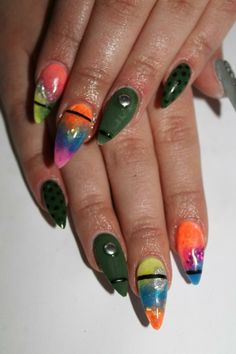 "What the hell is with the pointy witch nails trend? It is all fun and games until someone loses an eye. And the giant lumps of what can only be mercury from an old thermometer? Click through for some truly eye-searing pictures. Don't say I didn't warn you. ""17 Amazing Trendy Nail Designs For This Spring"""