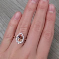 Pear Peach Champagne Sapphire Engagement Ring, Diamond Halo (2.23ctw+) | Kristin Coffin Jewelry