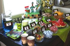 My son's minecraft partys, old boy :) Minecraft Cake, Minecraft Party, 7th Birthday, Birthday Party Themes, Son Love, Hammocks, Candy Buffet, Old Boys, Birthdays