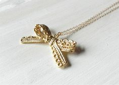 Filigree bow necklace on gold filled chain by LemonSweetJewelry, $20.00