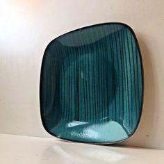 Rare Vtg Cathrineholm Norway 60s Enamel Teal Green Metal Plate Tray Pin Stripes: https://www.ebay.com/itm/253500927267