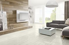 """Bring the outdoors in by refacing your fireplace with """"wood."""" Clean, modern, neutral."""