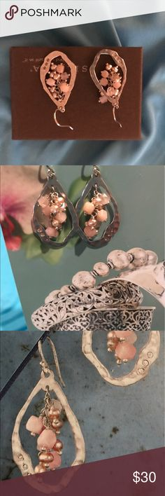 """SILPADA Blush Grape Earrings-Like New These Silpada earrings are 1 3/4"""", Pearl, Quartz, Soapstone, Cubic Zirconia, Sterling Silver, I was a representative and only used for parties, like new, in catalog W221-Blush Grape Earrings SILPADA Jewelry Earrings"""