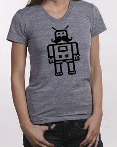 02d970f84 Robot - womens t shirt - large grey--- moustache My T Shirt