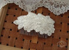 Beaded Wedding Comb, Lace Bridal Hair Comb, Wedding Lace Hairpiece, Ivory Lace Headpiece, Pearl Bridal Haircomb, Wedding Hair Accessories