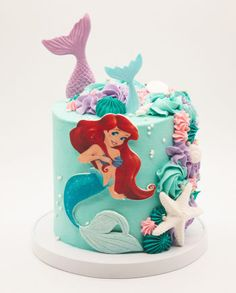 Your birthday, your promotion, your baby shower or the fact that it's Friday, we love a happy occasion and your kiddos will love our happy Little Mermaid Birthday Cake, Little Mermaid Cakes, Baby Birthday Cakes, Sirenita Cake, Ariel Cake, Ocean Cakes, Cake Works, Girl Cakes, Celebration Cakes