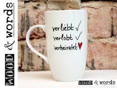 Becher & Tassen - Kaffeebecher - Hochzeitsgeschenk - ein Designerstück von woodandwords bei DaWanda