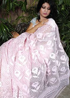Pastel Pink Dhakai Jamdani Saree from tskbd.com
