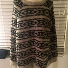 Tribal Print poncho (sleeveless) You are more than welcome to ask any questions. All my clothes have been gently worn, either new, or (probably worn a few times) because I tend to shop and switch styles so very often! In great condition and good quality. You get what you see. :)  Please follow me, I have a lot more cute stuff that I will be selling. Forever 21 Jackets & Coats Capes