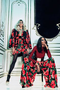 Balmain drew inspiration from the seventies. Here we have a red, high-waisted, floaty super-wide-leg jumpsuit in poppy prints that also replicate the popular floral wallpapers of the seventies. The bold patterns of stripes and florals were popular at the time. 2/9/15