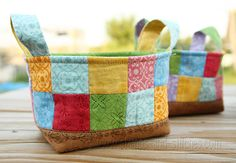Patchwork baskets - great idea for giving food presents...you can present the treats wrapped in cellophane and placed in the basket.