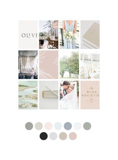 Mood Board for Wedding Photographer Branding Mood Board with a gray, blue and blush pink color palette Wordpress Website Design, Branding Website, Website Color Palette, Blush Color Palette, Web Design, Design Color, Photography Website, Art Photography, Theme Color