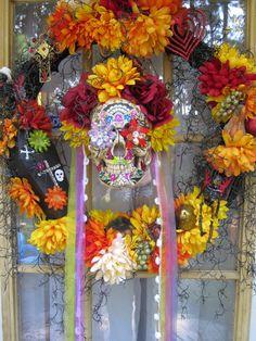 Day of the Dead wreath Sugar skull wreath by MimisVintageGoodies