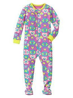Butterfly sleep footed one-piece