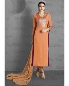Orange with Maroon Printed Side Slits Embroiderd Salwar Suit