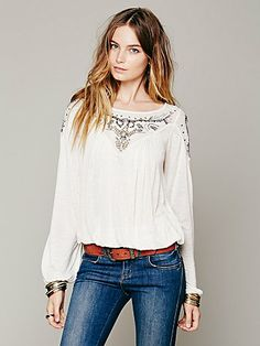 Free People Blue Sky Banded Top