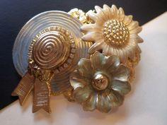 Vintage Gold Tone, Enamel and Rhinestones Spring Flowers and Hat Dimensional Brooch. by Bestintreasures on Etsy