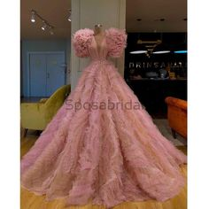 A-line Pink Tulle Long Elegant Unique Modest Long Prom Dresses, Ball gown Gala Dresses, Event Dresses, Couture Dresses, Fashion Dresses, Straps Prom Dresses, Club Dresses, Dress Dior, Pink Dress, Vestidos Zara