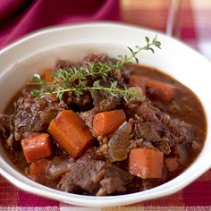 Sunday Beef Stew - a robust beef stew with loads of garlic and red wine.