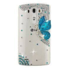 Ancerson 3D Handmade Luxury Shining Glitter Crystal Diamond Rhinestones Hard Back Case Cover for LG G3 Free with a Red Stylus Touchscreen Pen, a 3.5mm Universal Crystal Diamond Rhinestones Bling Lovely Silvery Flower Blue Panda Pendant Dust Plug and a Cleaning Cloth(Transparent Clear Case) (Blue Butterfly Fairy Angel Girl Spirit Lady):Amazon:Cell Phones & Accessories