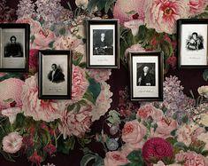 Papier peint floral foncé, papier peint botanique