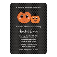 Halloween Little Boy Pumpkin Baby Shower Card