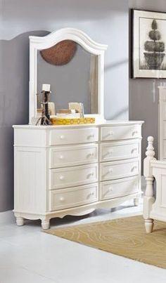 Clementine Classic White Wood Glass Dresser