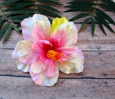 Hey, I found this really awesome Etsy listing at https://www.etsy.com/il-en/listing/229822092/pink-and-white-hibiscus-hair-clip-pinup
