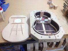 Glue top onto sides, prep fretboard & neck