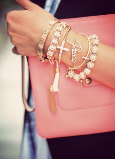 ROSE GOLD BRACELETS AND A ROSE BAG. beautiful bling