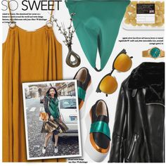 Spring Day To Night Leather Jacket Maxi Dress by jiabao-krohn on Polyvore featuring MANGO, MM6 Maison Margiela, Akribos XXIV and Yves Saint Laurent