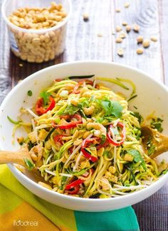 Pad Thai Zucchini Noodles Salad Recipe with zucchini pasta, healthy peanut sauce, shrimp or tofu and half amount of calories in under 20 minutes. | ifoodreal.com