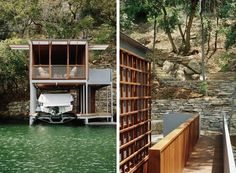 A boathouse on the waterfront. Located on the steeply sloped banks of Lake Austin, in Austin, Texas, this Andersson-Wise-design–a combination boathouse and screened porch–provides the ideal setting for winding down. Approached by a narrow, elegant footbridge spanning a deep ravine, the structure appears to hover over the water, offering a respite from the heat (and concerns) of life inland. Images courtesy of Andersson-Wise.