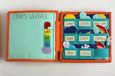 Handmade cloth quiet busy book for Sergio, weather, развивающая книжка