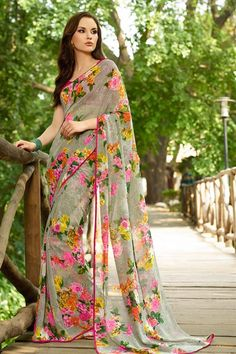 Appealing Grey Georgette Floral Print Saree