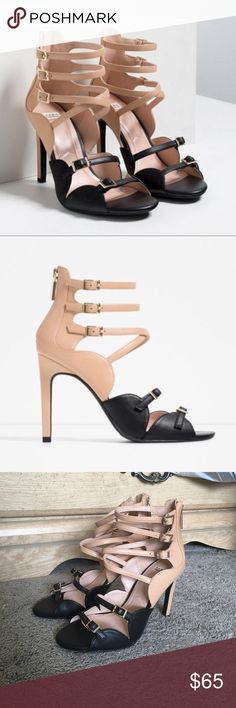 Zara black and nude heels BRAND NEW WITH TAGS! Gorgeous heels, never got around to wearing them. My loss your gain. Has gold buckles in front to wear at desired size and zipper closure on back. Approx heel height: 4in. Needs a new home ❤️ Zara Shoes Heels
