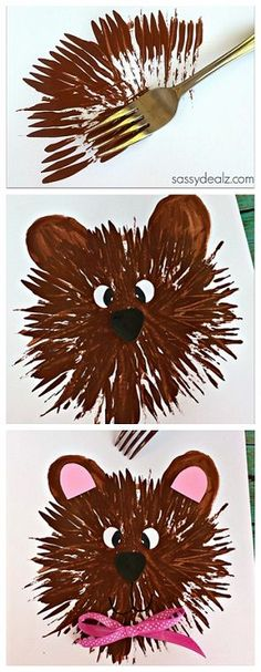 Bear Craft for Kids to Make Using a Fork! #TeddyBear- Not hand print art but pretty darn close!