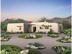 Eplans House Plan: Graceful curves welcome you into the courtyard of this Santa Fe home. Inside, a  gallery directs traffic to the work zone on the left or the sleeping zone on  the right. The wide covered rear porch is acces