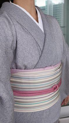 6月中旬、鮫小紋縮緬単衣、博多半幅帯