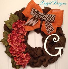 Brown Burlap Wreath with Initial on Etsy, $90.00