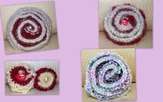 Spille lavorate a maglia a forma di rosa.