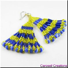 Layered Serenade Seed Beaded Dangle Chandelier Earrings TAGS - Jewelry, Earrings, Beaded, carosell creations, glass, seed beads, fiber, optic, cats eye, dangle, chandelier, yellow, blue, loops, bugle, delica, ladies, off loom, stitched, holiday gift idea, trendy, fashion, girls, weaved, woven, chic, country, gypsy, teens, tribal, traditional, women, native american indian, southwestern