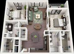 3d floor plan apartment - Buscar con Google
