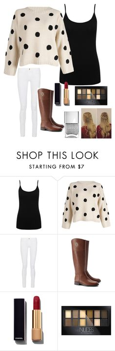 """""""Never Give up"""" by karleightheawesome ❤ liked on Polyvore featuring M&Co, Frame Denim, Tory Burch, Chanel, Maybelline, women's clothing, women's fashion, women, female and woman"""