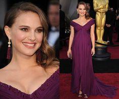 Oscars.. Natalie Portman in a Rodarte Violet Silk Chiffon Draped Gown